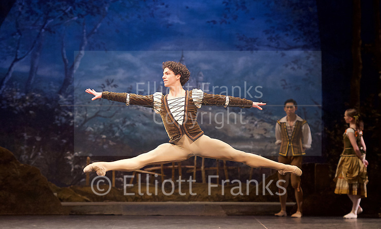 Giselle <br /> English National Ballet at The London Coliseum, London, Great Britain <br /> rehearsal <br /> 10th January 2017 <br /> <br /> <br /> <br /> Isaac Hernandez as Albrecht <br /> <br /> <br /> <br /> Photograph by Elliott Franks <br /> Image licensed to Elliott Franks Photography Services