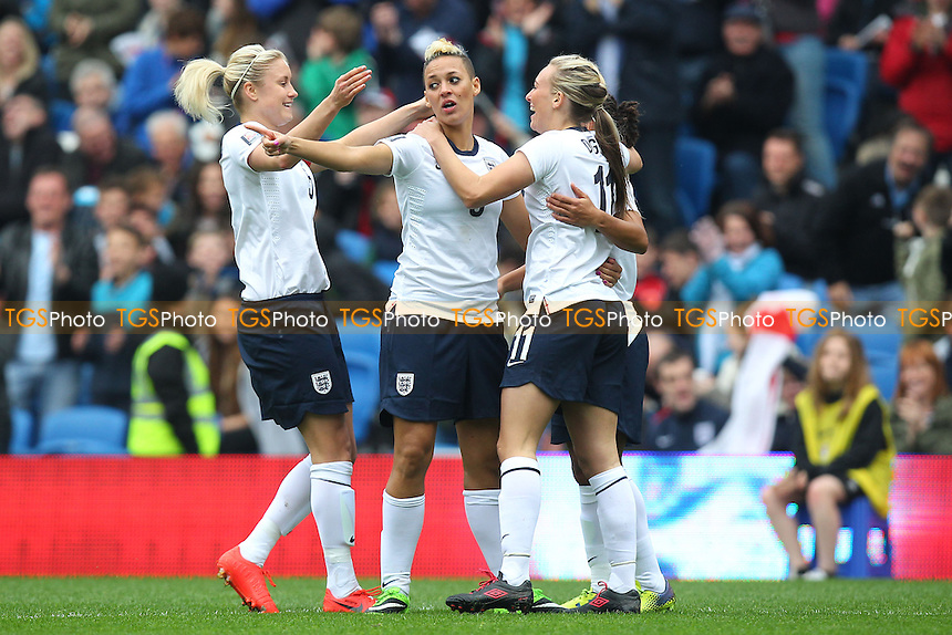 Toni Duggan (R) celebrates scoring the first England goal - England Women vs Montenegro Women - FIFA Womens World Cup 2015 Qualifying Group 6 Football at The Amex, Falmer Stadium, Brighton & Hove Albion FC - 05/04/14 - MANDATORY CREDIT: Gavin Ellis/TGSPHOTO - Self billing applies where appropriate - 0845 094 6026 - contact@tgsphoto.co.uk - NO UNPAID USE