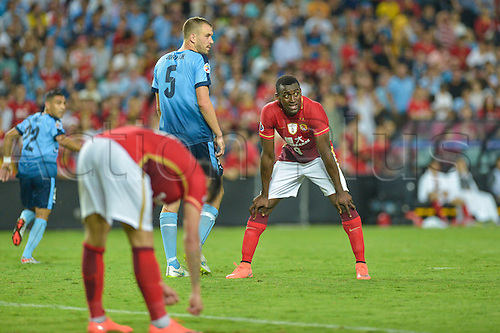 02.03.2016. Sydney, Australia. AFC Champions League. Sydney versus Guangzhou Evergrande. Evergrande midfileder Ricardo Goulart and Evergrande forward Jackson Martinez disappointed as they miss a goal scoring chance. Sydney won the game 2-1.
