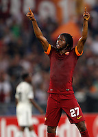 Calcio, Champions League, Gruppo E: Roma vs CSKA Mosca. Roma, stadio Olimpico, 17 settembre 2014.<br /> Roma forward Gervinho, of Ivory Coast, celebrates after scoring his second goal during the Group E Champions League football match between AS Roma and CSKA Moskva at Rome's Olympic stadium, 17 September 2014.<br /> UPDATE IMAGES PRESS/Riccardo De Luca