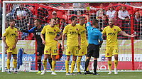 Fleetwood Town's Paddy Madden is shown a yellow card by James Adcock<br /> <br /> Photographer David Shipman/CameraSport<br /> <br /> The EFL Sky Bet League One - Doncaster Rovers v Fleetwood Town - Saturday 17th August 2019  - Keepmoat Stadium - Doncaster<br /> <br /> World Copyright © 2019 CameraSport. All rights reserved. 43 Linden Ave. Countesthorpe. Leicester. England. LE8 5PG - Tel: +44 (0) 116 277 4147 - admin@camerasport.com - www.camerasport.com