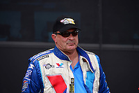 Sept. 14, 2012; Concord, NC, USA: NHRA pro stock driver Ron Krisher during qualifying for the O'Reilly Auto Parts Nationals at zMax Dragway. Mandatory Credit: Mark J. Rebilas-