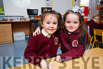 Lola Burrows and Emily Felix, pictured on their first day of school at Moyderwell National School, Tralee on Wednesday morning last.