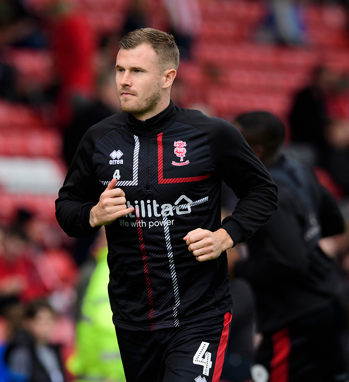 Lincoln City's Michael O'Connor during the pre-match warm-up<br /> <br /> Photographer Chris Vaughan/CameraSport<br /> <br /> The EFL Sky Bet League One - Lincoln City v Sunderland - Saturday 5th October 2019 - Sincil Bank - Lincoln<br /> <br /> World Copyright © 2019 CameraSport. All rights reserved. 43 Linden Ave. Countesthorpe. Leicester. England. LE8 5PG - Tel: +44 (0) 116 277 4147 - admin@camerasport.com - www.camerasport.com