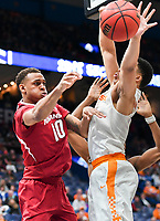 NWA Democrat-Gazette/CHARLIE KAIJO Arkansas Razorbacks forward Daniel Gafford (10) throws a pass during the Southeastern Conference Men's Basketball Tournament semifinals, Saturday, March 10, 2018 at Scottrade Center in St. Louis, Mo. The Tennessee Volunteers knocked off the Arkansas Razorbacks 84-66
