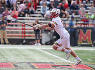College Park, MD - April 22, 2018: Maryland Terrapins Austin Henningsen (17) wins the faceoff during game between Ohio St. and Maryland at  Capital One Field at Maryland Stadium in College Park, MD.  (Photo by Elliott Brown/Media Images International)