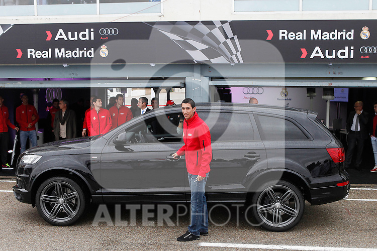 Real Madrid player Angel Di Maria participates and receives new Audi during the presentation of Real Madrid's new cars made by Audi at the Jarama racetrack on November 8, 2012 in Madrid, Spain.(ALTERPHOTOS/Harry S. Stamper)