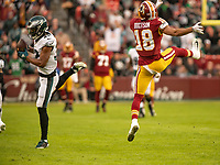 Philadelphia Eagles cornerback Rasul Douglas (32) intercepts a pass intended for Washington Redskins wide receiver Josh Doctson (18) on the first play of the game in the first quarter at FedEx Field in Landover, Maryland on December 30, 2018. Photo Credit: Ron Sachs/CNP/AdMedia