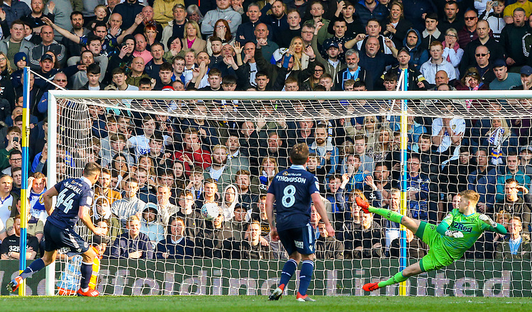 Millwall's Ben Marshall scores his side's second from the penalty spot<br /> <br /> Photographer Alex Dodd/CameraSport<br /> <br /> The EFL Sky Bet Championship - Leeds United v Millwall - Saturday 30th March 2019 - Elland Road - Leeds<br /> <br /> World Copyright © 2019 CameraSport. All rights reserved. 43 Linden Ave. Countesthorpe. Leicester. England. LE8 5PG - Tel: +44 (0) 116 277 4147 - admin@camerasport.com - www.camerasport.com
