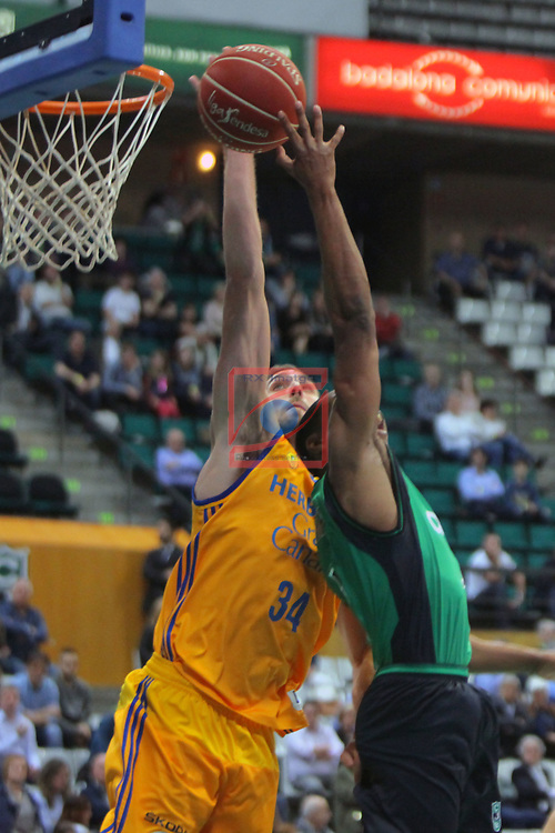 League ACB-ENDESA 2016/2017. Game: 28.<br /> Divina Seguros Joventut vs Herbalife Gran Canaria: 86-72.<br /> Pablo Aguilar vs Terry Smith.
