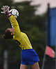 Ribecca Sperry #00, Port Washington goalie, makes a leaping save during the first half of a Nassau County varsity girls soccer game against Massapequa at Burns Park in Massapequa on Monday, Oct. 15, 2018. Massapequa won by a score of 3-0.