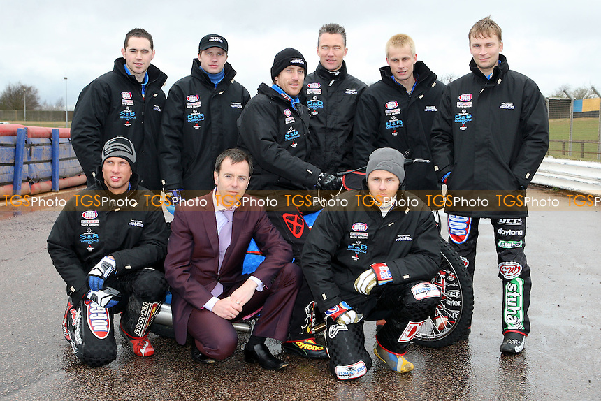 From left: Mills, Kling, Shields, Lanham, Tomicek, Kylmakorpi - Front: Jonsson, Douglas, Davidsson - Lakeside Hammers Press & Practice Day at Arena Essex Raceway - 11/03/08 - MANDATORY CREDIT: Gavin Ellis/TGSPHOTO. Self-Billing applies where appropriate. NO UNPAID USE. Tel: 0845 094 6026