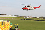 Irish Coast Guard helicopter from Dublin Airport transporting a critically ill teenager from Kilmainhamwood, Co.Meath, after being requested by North East Ambulance Services is met by emergency services in Drogheda to take the casuality to Our Lady of Lourdes Hospital nearby...Photo NEWSFILE/Jenny Matthews.(Photo credit should read Jenny Matthews/NEWSFILE)....This Picture has been sent you under the condtions enclosed by:.Newsfile Ltd..The Studio,.Millmount Abbey,.Drogheda,.Co Meath..Ireland..Tel: +353(0)41-9871240.Fax: +353(0)41-9871260.GSM: +353(0)86-2500958.email: pictures@newsfile.ie.www.newsfile.ie.FTP: 193.120.102.198.