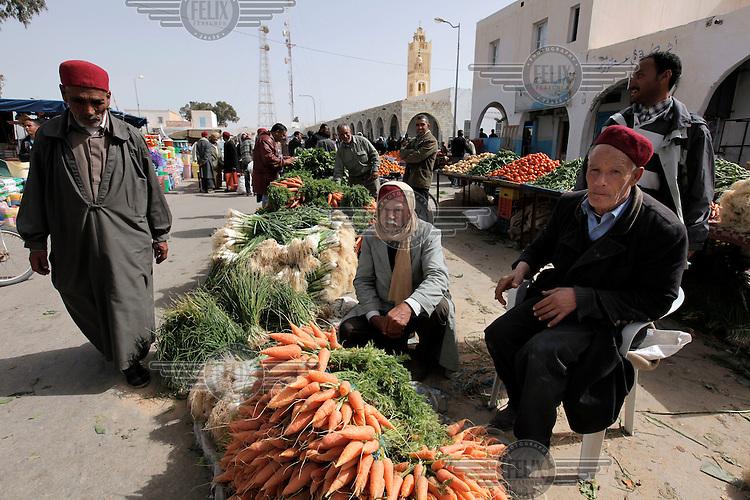 Vegetable market in the sqaure in Ben Gardene Tunisa.