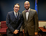 Actor Nicolas Cage and Nevada Sen. Aaron Ford, D-Las Vegas, pose at the Legislative Building Carson City, Nev., on Tuesday, May 7, 2013. Cage testified in support of Ford's measure proposing tax incentives to filmmakers..Photo by Cathleen Allison