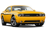 Low aggressive passenger side front three quarter view of a 2012 Dodge Challenger SRT8 392 Yellow Jacket Coupe