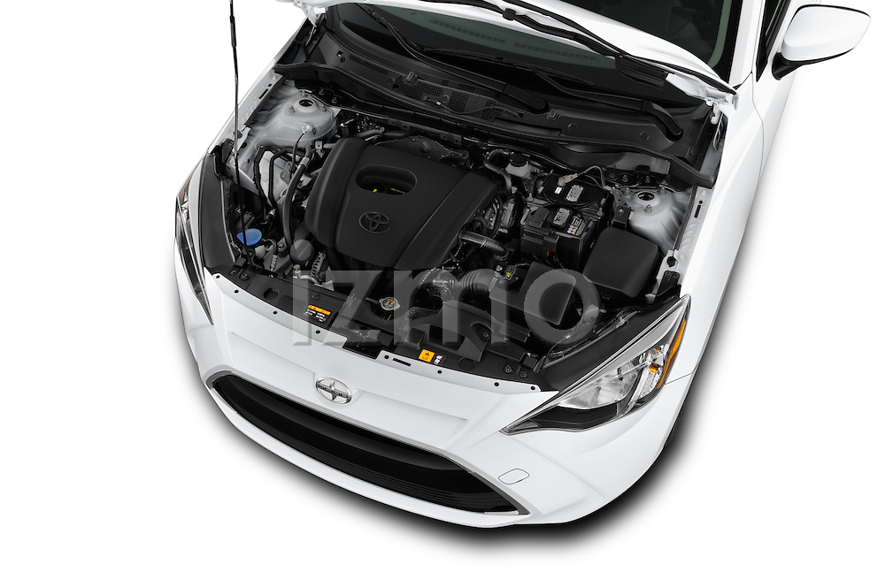 Car Stock 2016 Scion iA 4 Door Sedan Engine high angle detail view