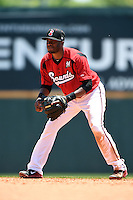 Nashville Sounds second baseman Irving Falu (19) during a game against the Omaha Storm Chasers on May 20, 2014 at Herschel Greer Stadium in Nashville, Tennessee.  Omaha defeated Nashville 4-1.  (Mike Janes/Four Seam Images)