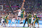 11.09.2014 Barcelona. FIBA Basketball World Cup. Semi-Finals. Picture show J. Valanciunas and A. Davis in action during game Usa v Lithuania at Palau St. Jordi