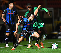 Sheffield Wednesday's Fisayo Dele-Bashiru battles with Rochdale's Ollie Rathbone<br /> <br /> Photographer Dave Howarth/CameraSport<br /> <br /> Carabao Cup Second Round Northern Section - Rochdale v Sheffield Wednesday - Tuesday 15th September 2020 - Spotland Stadium - Rochdale<br />  <br /> World Copyright © 2020 CameraSport. All rights reserved. 43 Linden Ave. Countesthorpe. Leicester. England. LE8 5PG - Tel: +44 (0) 116 277 4147 - admin@camerasport.com - www.camerasport.com