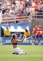 Brandi Chastain after scoring on a penalty kick to win the match against China. Women's World Cup 1999, Pasadena, California, July 10, 1999.