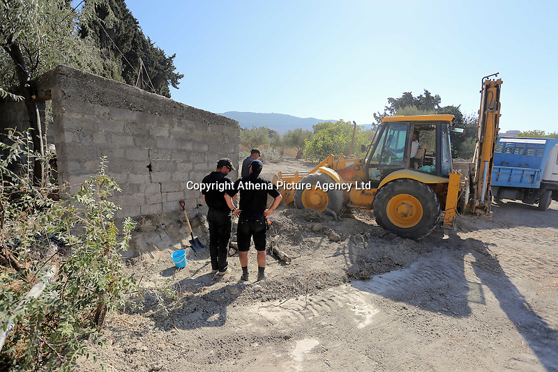 FAO JANET TOMLINSON, DAILY MAIL PICTURE DESK<br />Pictured: Special forensics police officers make use of a digger to search a part of a field near a disused building in Kos, Greece. Saturday 01 October 2016<br />Re: Police teams led by South Yorkshire Police, searching for missing toddler Ben Needham on the Greek island of Kos have moved to a new area in the field they are searching.<br />Ben, from Sheffield, was 21 months old when he disappeared on 24 July 1991 during a family holiday.<br />Digging has begun at a new site after a fresh line of inquiry suggested he could have been crushed by a digger.
