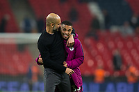 Manchester City manager Josep Guardiola celebrates with Gabriel Jesus <br /> <br /> Photographer Craig Mercer/CameraSport<br /> <br /> The Premier League - Tottenham Hotspur v Manchester City - Saturday 14th April 2018 - Wembley Stadium - London<br /> <br /> World Copyright &copy; 2018 CameraSport. All rights reserved. 43 Linden Ave. Countesthorpe. Leicester. England. LE8 5PG - Tel: +44 (0) 116 277 4147 - admin@camerasport.com - www.camerasport.com