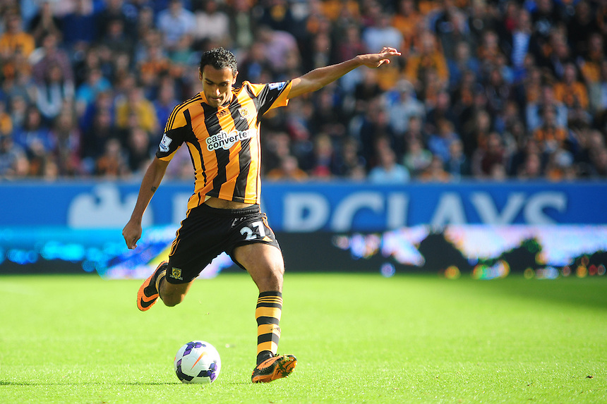 Hull City's Ahmed Elmohamady <br /> <br /> Photo by Chris Vaughan/CameraSport<br /> <br /> Football - Barclays Premiership - Hull City v West Ham United - Saturday 28th September 2013 - Kingston Communications Stadium - Hull<br /> <br /> &copy; CameraSport - 43 Linden Ave. Countesthorpe. Leicester. England. LE8 5PG - Tel: +44 (0) 116 277 4147 - admin@camerasport.com - www.camerasport.com