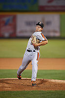 Aberdeen IronBirds relief pitcher Nick Vichio (24) delivers a pitch during a game against the Tri-City ValleyCats on August 27, 2018 at Joseph L. Bruno Stadium in Troy, New York.  Aberdeen defeated Tri-City 11-5.  (Mike Janes/Four Seam Images)