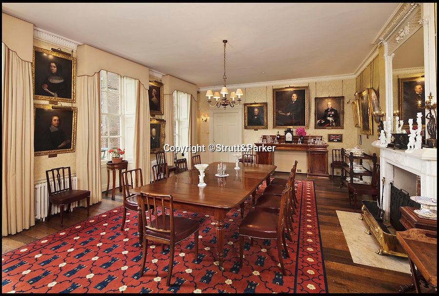 BNPS.co.uk (01202 558833)<br /> Pic: Strutt&Parker/BNPS<br /> <br /> The dining room.<br /> <br /> A historic country estate which was once the subject of a 150 year mystery of sunken treasure has gone on the market for the first time in 250 years.<br /> <br /> Spains Hall in Essex was burgled in the 18th century but the raiders' getaway cart got stuck in a bog and they threw their loot of silver in a lake on the estate.<br /> <br /> It wasn't until 1902 the lake was drained and the treasure was found. <br /> <br /> The estate in now on the market for £6m.