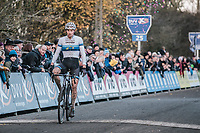 European Champion Mathieu van der Poel (NED/Beobank Corendon) finishing 1st place.<br /> <br /> men's elite race<br /> Flandriencross Hamme / Belgium 2017