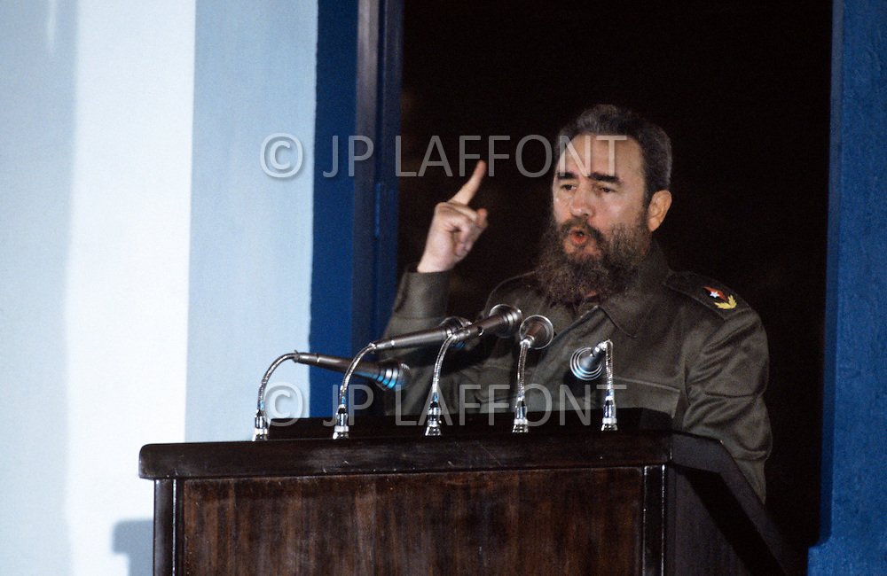 January 1, 1984. Santiago, Cuba. Fidel Castro giving a speech on the balcony of city hall, on the 25th anniversary of the Cuban Revolution.