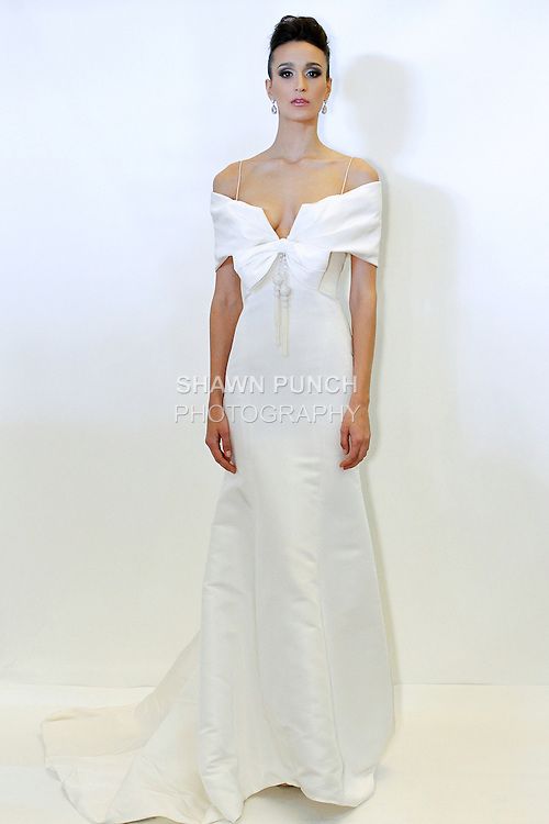 Model poses in an Edith bridal gown from the Rafael Cennamo White Couture Spring 2014 collection, during New York International Bridal Week, April 20, 2013.