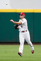 Chris Swauger (8) of the Springfield Cardinals tosses a ball back into the infield during a game against the Tulsa Drillers at Hammons Field on June 27, 2011 in Springfield, Missouri. (David Welker / Four Seam Images)
