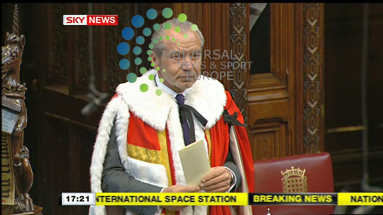 Businessman Sir Alan Sugar has taken his seat in the House of Lords as Baron Sugar of Clapton..The tycoon and star of the BBC TV series The Apprentice was ennobled by Gordon Brown last month and handed the advisory post of enterprise tsar..The Tories say he cannot work for the BBC and government at the same time, saying he must choose between them..Lord Sugar, who will take the Labour whip in the Lords, says his role is to advise firms through the recession. .Picture: 20/07/09 Sky//Universal News and Sport (Scotland). (Universal News does not claim any Copyright or License in the attached material. Any downloading fee charged by Universal News and Sport is for Universal News services only. We are advised that videograbs should not be used more than 48 hours after the time of original transmission, without the consent of the copyright holder). ..