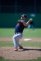 State College Spikes relief pitcher Cory Malcom (35) delivers a pitch during a game against the Batavia Muckdogs on July 8, 2018 at Dwyer Stadium in Batavia, New York.  Batavia defeated State College 8-3.  (Mike Janes/Four Seam Images)