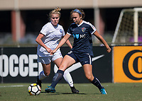 Sanford, FL - Saturday Oct. 14, 2017:  A Courage player plays the ball away from pressure during a US Soccer Girls' Development Academy match between Orlando Pride and NC Courage at Seminole Soccer Complex. The Courage defeated the Pride 3-1.