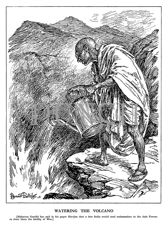 Watering the Volcano. [Mahatma Gandhi has said in his paper Harijan that a free India would send ambassadors to the Axis Powers to show them the futility of War.] (Gandhi tries to put out the vocanic fires with his watering can)