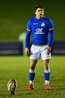 Italy U20's Antonio Rizzi in action<br /> <br /> Photographer Richard Martin-Roberts/CameraSport<br /> <br /> Six Nations U20 Championship Round 4 - Wales U20s v Italy U20s - Friday 9th March 2018 - Parc Eirias, Colwyn Bay, North Wales<br /> <br /> World Copyright &not;&copy; 2018 CameraSport. All rights reserved. 43 Linden Ave. Countesthorpe. Leicester. England. LE8 5PG - Tel: +44 (0) 116 277 4147 - admin@camerasport.com - www.camerasport.com