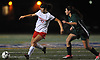 Nicole Hetzel #17 of Wheatley, left, tries to maneuver for a shot on goal during the Nassau County varsity girls soccer Class B final against Carle Place at Cold Spring Harbor High School on Friday, Nov. 3, 2017. She scored both of her team's goals to lead Wheatley to a 2-0 win.
