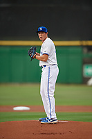 Dunedin Blue Jays starting pitcher Nate Pearson (32) during a Florida State League game against the Clearwater Threshers on April 4, 2019 at Spectrum Field in Clearwater, Florida.  Dunedin defeated Clearwater 11-1.  (Mike Janes/Four Seam Images)