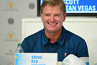 Ernie Els (RSA) shares a laugh during round 1 player selection for the 2017 President's Cup, Liberty National Golf Club, Jersey City, New Jersey, USA. 9/27/2017.<br /> Picture: Golffile | Ken Murray<br /> <br /> <br /> All photo usage must carry mandatory copyright credit (© Golffile | Ken Murray)