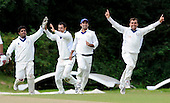 Scotland V Afghanistan, ICC Intercontinental Cup tie, Day 2, at New Cambusdoon, Ayr - celebrations for Afghanistan after a caught behind (one of four at the time of writing) by keeper Mohammed Shazad (left) - Picture by Donald MacLeod 12.08.10 - mobile 07702 319 738 - clanmacleod@btinternet.com