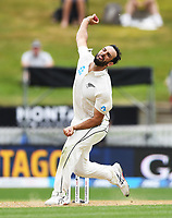2nd December, Hamilton, New Zealand; Daryl Mitchell bowling on day 4 of the 2nd test cricket match between New Zealand and England  at Seddon Park, Hamilton, New Zealand.