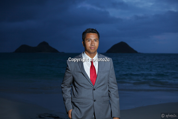 Pre-mission photos of Sam Walters Jr. at Lanikai Beach sunrise.