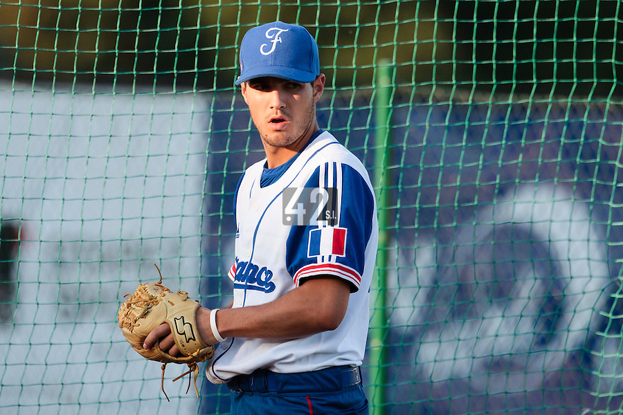 21 August 2010: Starting pitcher Joris Navarro of Team France is seen in the bullpen prior to Russia 13-1 win in 7 innings over France, at the 2010 European Championship, under 21, in Brno, Czech Republic.