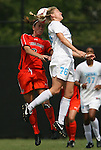 20 September 2009: North Carolina's Ali Hawkins (76) and Auburn's Jessica Rightmer (3) challenge for a header. The University of North Carolina Tar Heels played the Auburn University Tigers to a 0-0 tie after overtime at Koskinen Stadium in Durham, North Carolina in an NCAA Division I Women's college soccer game.