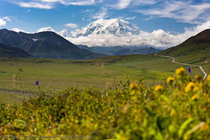 View of the North and South peaks of Denali from Stoney Dome in Denali National Park, Interior, Alaska.