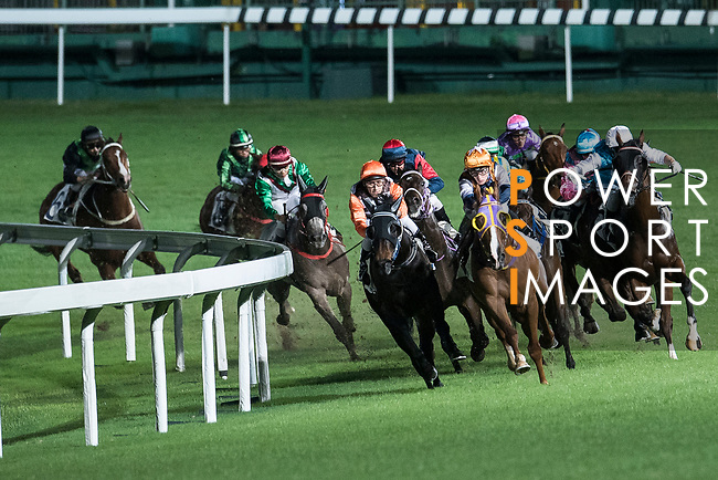 Jockey #7 Chad Schofield riding Numero Uno (C) during the race 2 of Hong Kong Racing at Happy Valley Race Course on November 29, 2017 in Hong Kong, Hong Kong. Photo by Marcio Rodrigo Machado / Power Sport Images