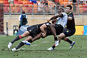 2nd February 2019, Spotless Stadium, Sydney, Australia; HSBC Sydney Rugby Sevens; England versus Fiji; Tom Bowen of England drives through the tackle on Sevuloni Mocenacagi of Fiji